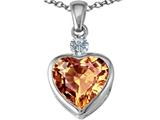 Star K™ 10mm Heart Shape Simulated Imperial Yellow Topaz Heart Pendant Necklace style: 306935