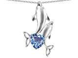 Original Star K 7mm Heart Shape Simulated Aquamarine Two Swimming Dolphin Pendant