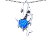 Original Star K 7mm Heart Shape Created Blue Opal Two Swimming Dolphin Pendant