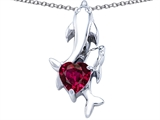 Star K™ 7mm Heart Shape Created Ruby Two Swimming Dolphin Pendant Necklace style: 306942
