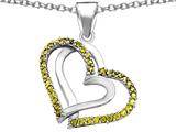 Star K™ Round Simulated Citrine Double Hearts Pendant Necklace style: 306943