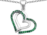 Star K™ Round Simulated Emerald Double Hearts Pendant Necklace style: 306945