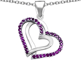 Star K™ Round Simulated Amethyst Double Hearts Pendant Necklace style: 306949