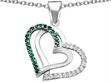 Star K™ Round Simulated Emerald Double Hearts Pendant Necklace style: 306952