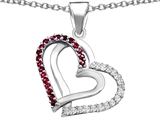 Original Star K Round Created Ruby Double Hearts Pendant