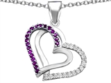 Star K™ Round Simulated Amethyst Double Hearts Pendant Necklace style: 306956