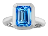 Star K™ 9x7mm Emerald Cut Octagon Solitaire Ring With Simulated Blue Topaz style: 306960