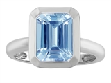 Star K™ 9x7mm Emerald Cut Octagon Solitaire Ring With Simulated Aquamarine style: 306964