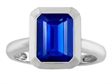 Star K™ 9x7mm Emerald Cut Octagon Solitaire Ring With Created Sapphire style: 306969