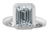 Original Star K 9x7mm Emerald Cut Octagon Solitaire Engagement Ring With Genuine White Topaz