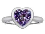 Original Star K 8mm Heart Shape Solitaire Engagement Ring With Simulated Alexandrite