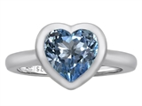 Original Star K 8mm Heart Shape Solitaire Engagement Ring With Simulated Aquamarine
