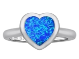Original Star K 8mm Heart Shape Solitaire Engagement Ring With Created Blue Opal