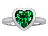 Original Star K 8mm Heart Shape Solitaire Engagement Ring With Simulated Emerald