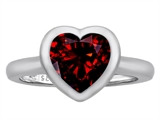 Original Star K 8mm Heart Shape Solitaire Engagement Ring With Genuine Garnet