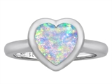 Original Star K 8mm Heart Shape Solitaire Engagement Ring With Created Opal