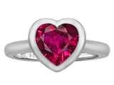 Original Star K 8mm Heart Shape Solitaire Engagement Ring With Created Ruby