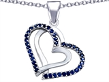 Original Star K Round Created Sapphire Double Hearts Pendant
