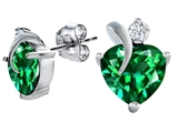 Original Star K 8mm Heart Shape Simulated Emerald Heart Earrings