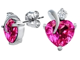 Original Star K 8mm Heart Shape Created Pink Sapphire Heart Earrings