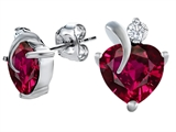 Original Star K 8mm Heart Shape Created Ruby Heart Earrings