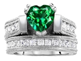 Original Star K 7mm Heart Shape Simulated Emerald Engagement Wedding Set
