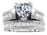 Original Star K™ 7mm Heart Shape Genuine White Topaz Engagement Wedding Set