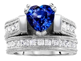 Original Star K™ 7mm Heart Shape Created Sapphire Engagement Wedding Set style: 306995