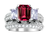 Original Star K™ 8x6mm Emerald Octagon Cut Created Ruby Engagement Wedding Set