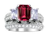 Original Star K™ 8x6mm Emerald Octagon Cut Created Ruby Wedding Set style: 306996