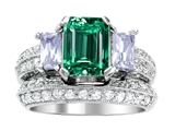 Original Star K 8x6mm Emerald Octagon Cut Simulated Emerald Engagement Wedding Set