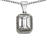 Original Star K™ Bali Style Emerald Cut 10x8mm Simulated White Sapphire Pendant style: 307002
