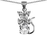 Original Star K™ Cat Pendant With Genuine White Topaz
