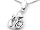 Star K™ Round 6mm Genuine White Topaz Cat Pendant Necklace style: 307004