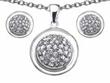 Original Star K™ Cubic Zirconia Round Puffed Pendant with matching earrings style: 307009