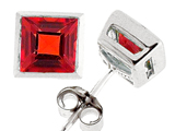 Tommaso Design Square Cut Genuine Garnet Earrings