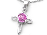 Original Star K Round Created Pink Sapphire Cross Pendant