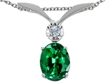 Tommaso Design Oval 8x6mm Simulated Emerald And Genuine Diamond Pendant