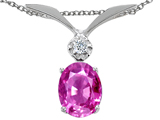 Tommaso Design Created Pink Sapphire Oval 8x6mm and Genuine Diamond Pendant