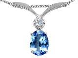 Tommaso Design™ Oval 8x6mm Genuine Tanzanite and Diamond Pendant