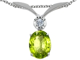 Tommaso Design™ Oval 8x6mm Genuine Peridot and Diamond Pendant