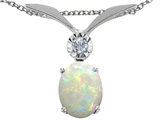 Tommaso Design Oval 8x6mm Genuine Opal and Diamond Pendant