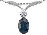 Tommaso Design Genuine Sapphire Oval 7x5mm and Diamond Pendant