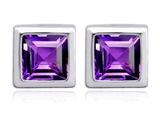 Original Star K 7mm Square Cut Genuine Amethyst Earring Studs