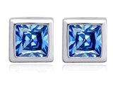 Original Star K 7mm Square Cut Genuine Blue Topaz Earring Studs