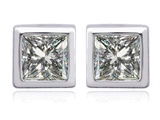 Original Star K 7mm Square Cut Genuine White Topaz Earring Studs