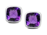Original Star K 7mm Cushion Cut Genuine Amethyst Earring Studs