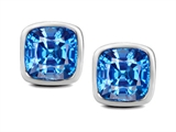 Original Star K™ 8mm Cushion Cut Simulated Blue Topaz Earrings Studs style: 307042