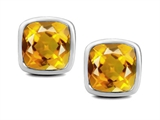 Original Star K™ 8mm Cushion Cut Simulated Citrine Earrings Studs style: 307043