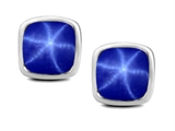 Original Star K 7mm Cushion Cut Created Star Sapphire Earring Studs